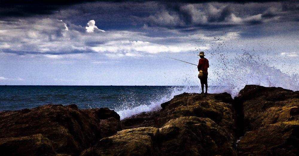 море, рыбалка, мужик, Павел Благих