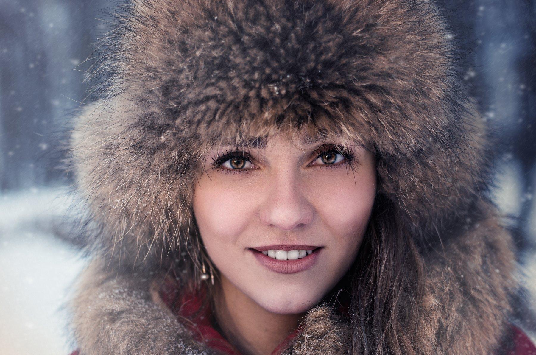 портрет, модель, зима, Томашев Сергей