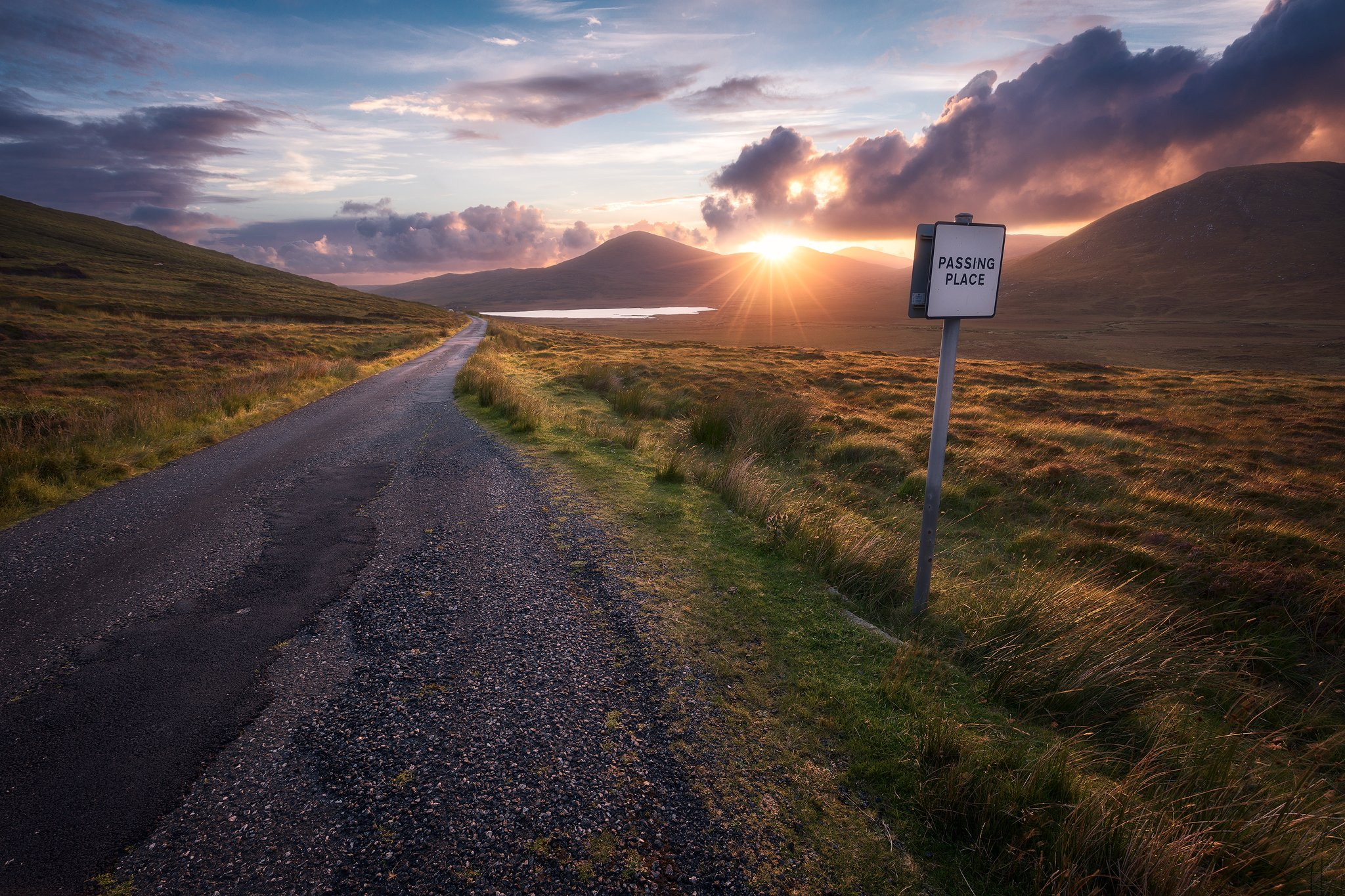 isle of harris hebrides scotland sky clouds light mood colors road sunset hills mountains, Maciej Warchoł