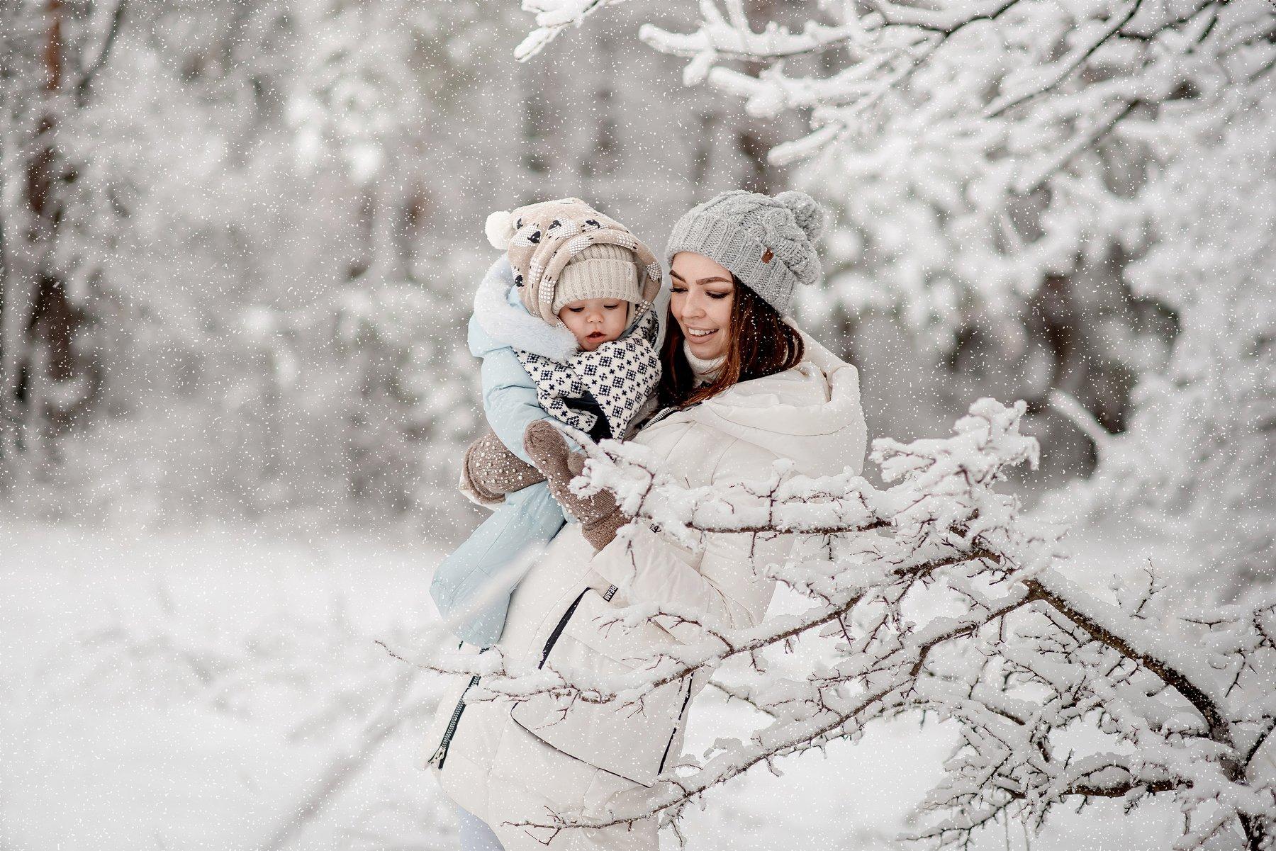 ребенок, мама, семья, зима, лес, Стрелкова Мария