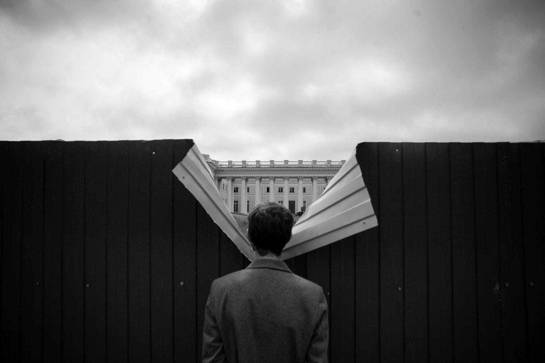 стрит, чб, забор, Пушкин, Санкт-Петербург, концепт, метафизика, дворец, Николай Щеголев