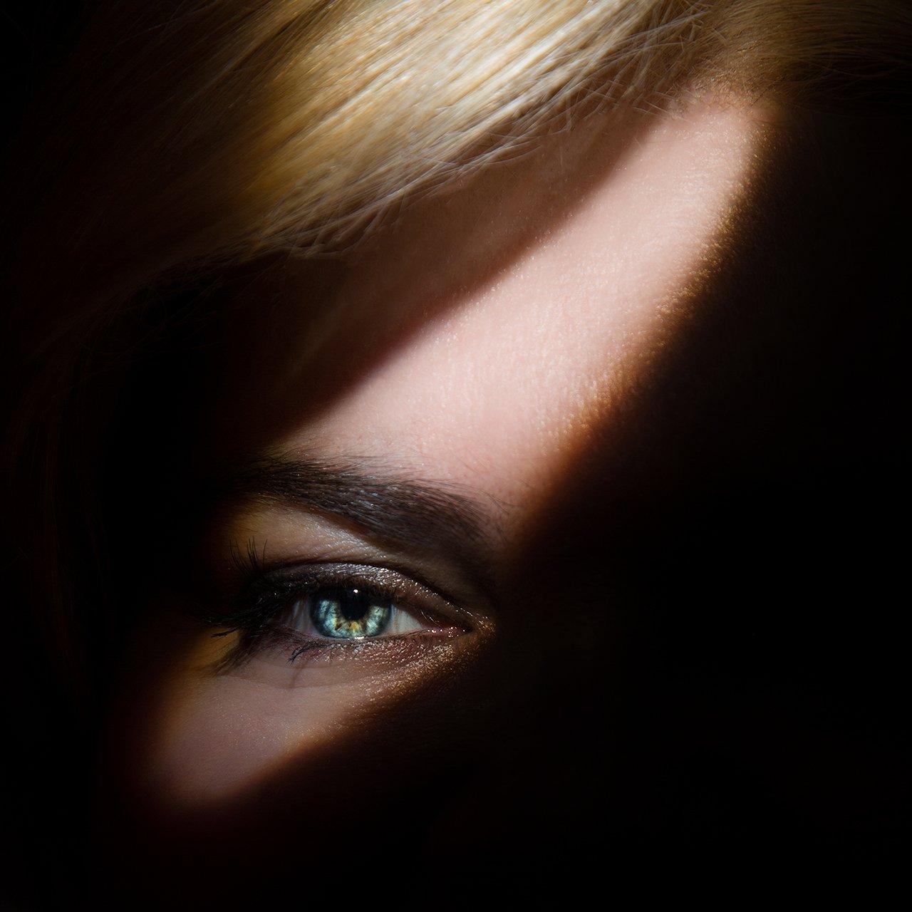 глаз, красивый, голубой, тень, свет, рисунок, Комарова Дарья