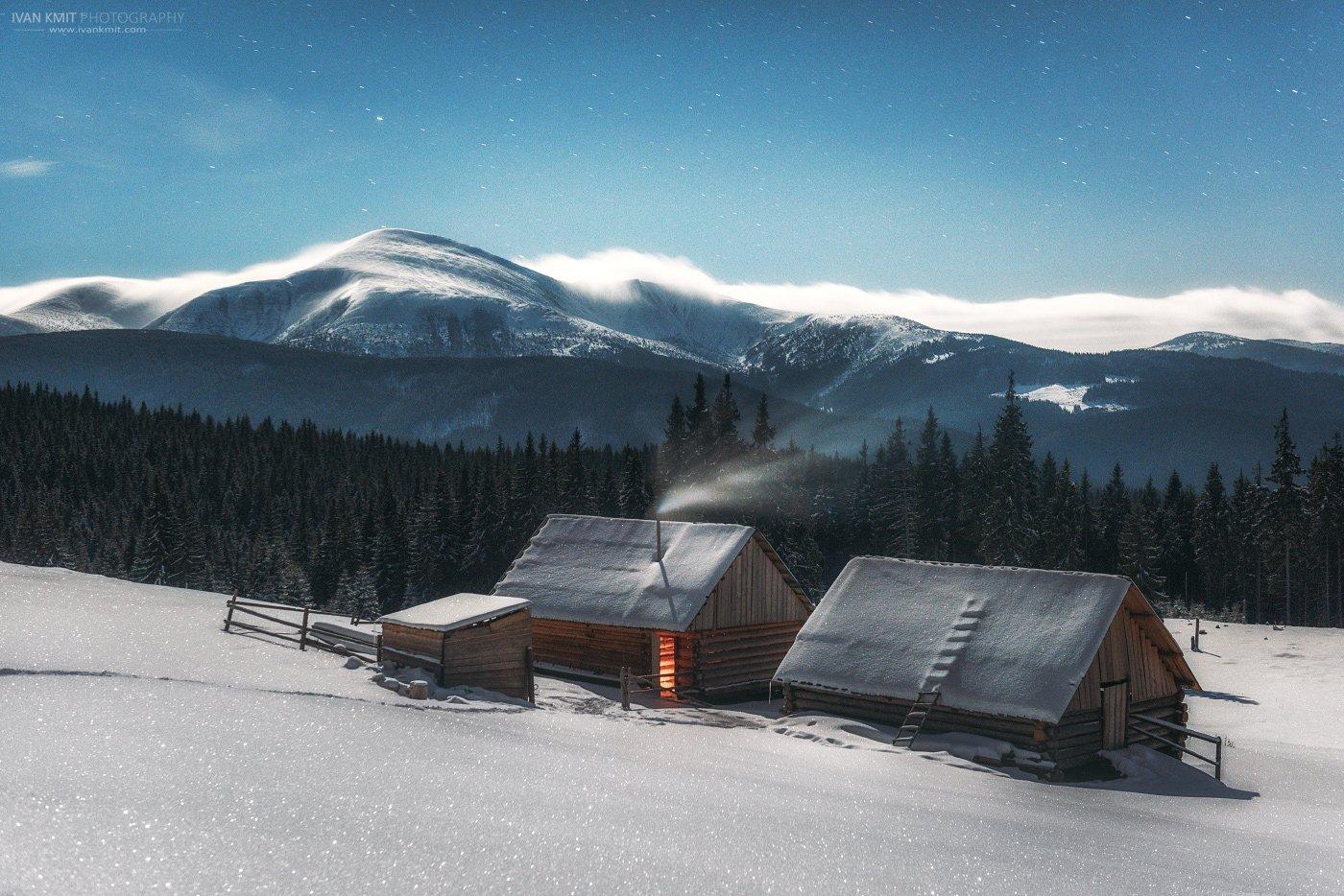 карпаты, зима, пейзаж, звезды, млечный путь, горы, Иван Кмить