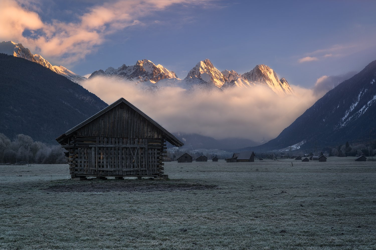 acres, agicutural building, agriculture, alps, austria, austrian alps, barns, clouds, farmhouse, fog, foggy, forest, frost, frosty, gurgltal, hey barns, hill, hills, houses, hovel, huts, imst, landscape, log cabin, meadows, morning, morning glow, moulton , Ludwig Riml