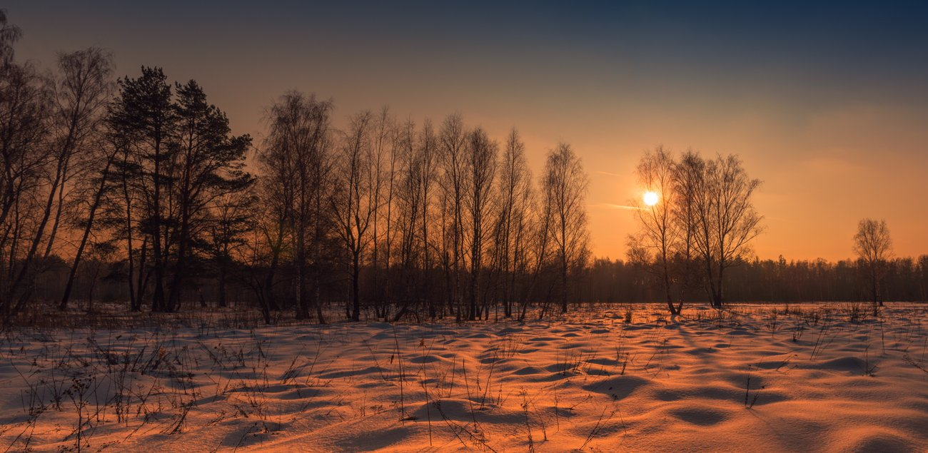 луг, зима, снег, закат, солнце, Галанзовская Оксана