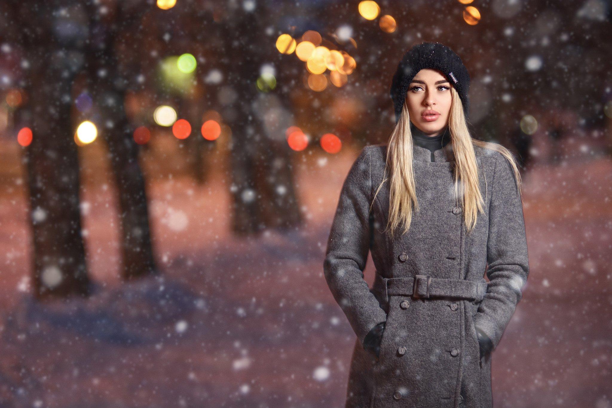 портрет, улица, зима, снег, вспышка, Александр
