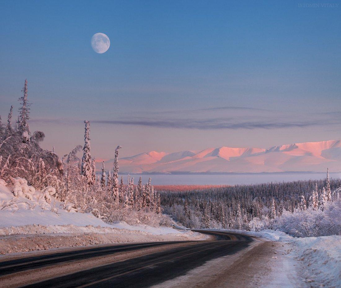 пейзаж,хибины,горы,дорога,свет,закат,луна, Истомин Виталий