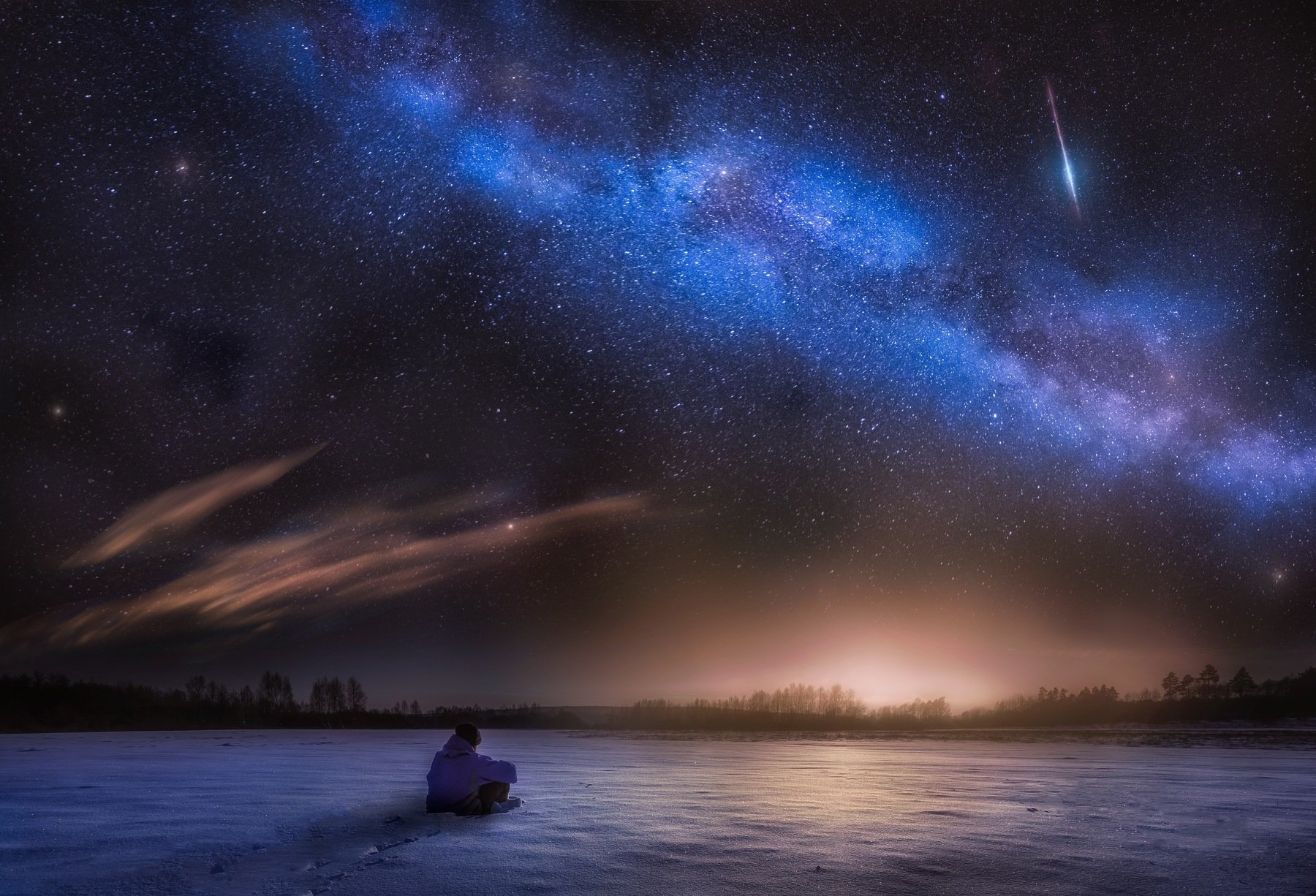 observer, night sky, milky way, winter, man, sitting, snow, starry, stars, Milosz_G