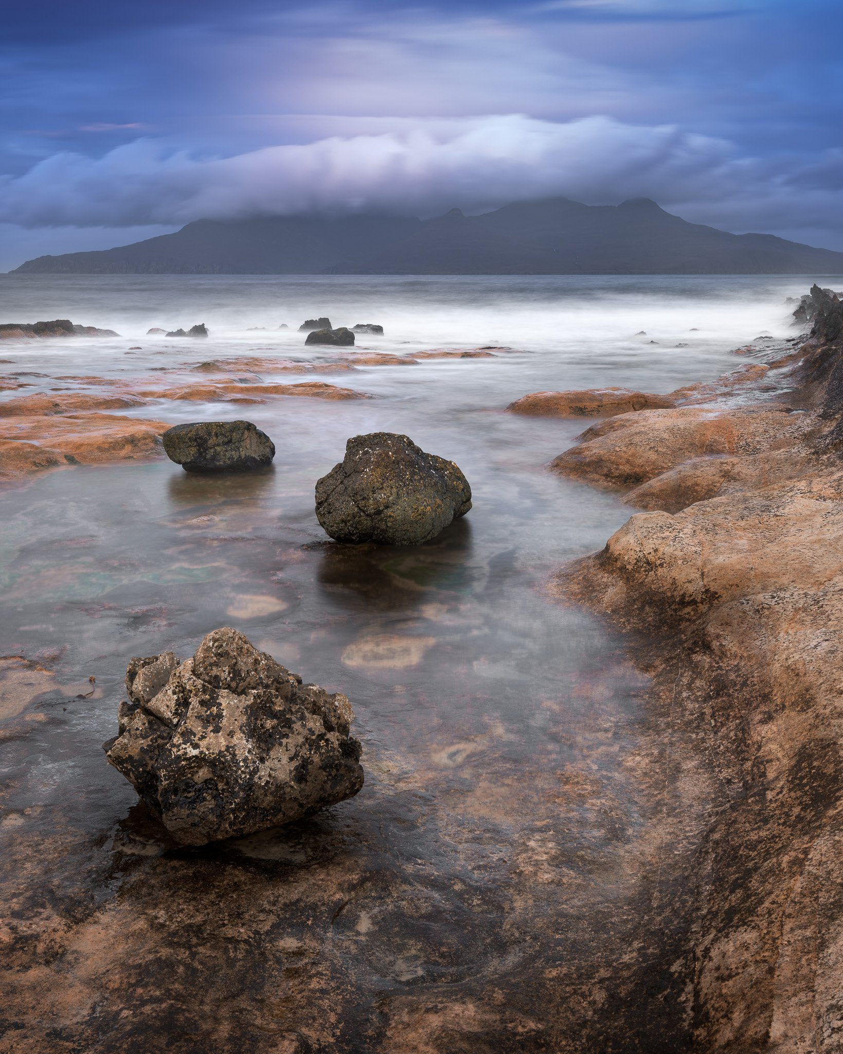 bay, beach, beautiful, blue, cliff, clouds, coast, coastal, dawn, eigg, europe, golden, highlands, island, isle, kingdom, landscape, lochaber, morning, nature, ocean, overcast, pebbles, rain, rainy, rhum, rock, rocky, rum, scenic, scotland, scottish, sea,, anshar