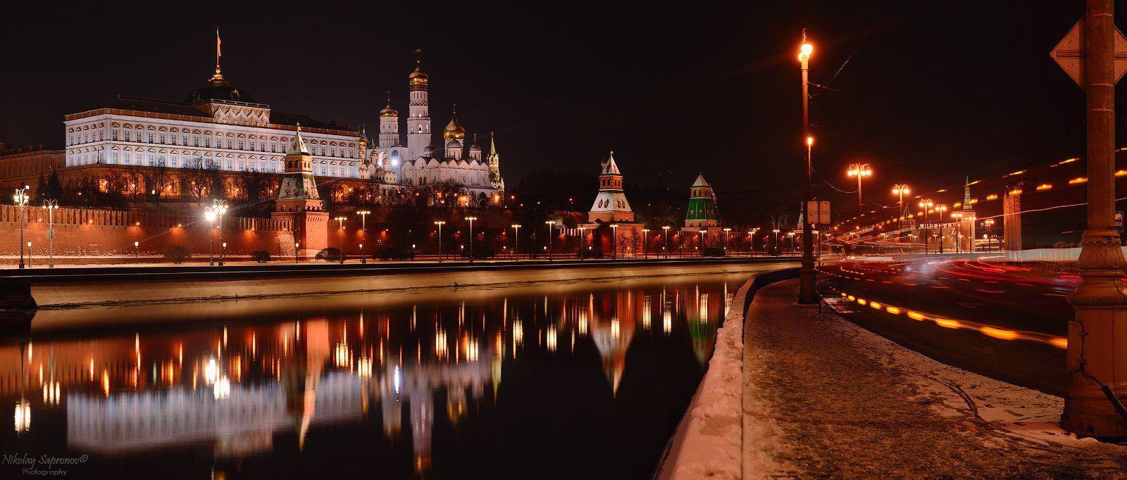 москва, кремль, московский кремль, moscow, kremlin, панорама, зима, городской пейзаж, москва-река, софийская набережная, зима, Николай Сапронов