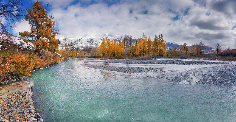 алтай, осень, река, чаган-узун, вода, горы, снег, лед, валерий_чичкин, Валерий Чичкин