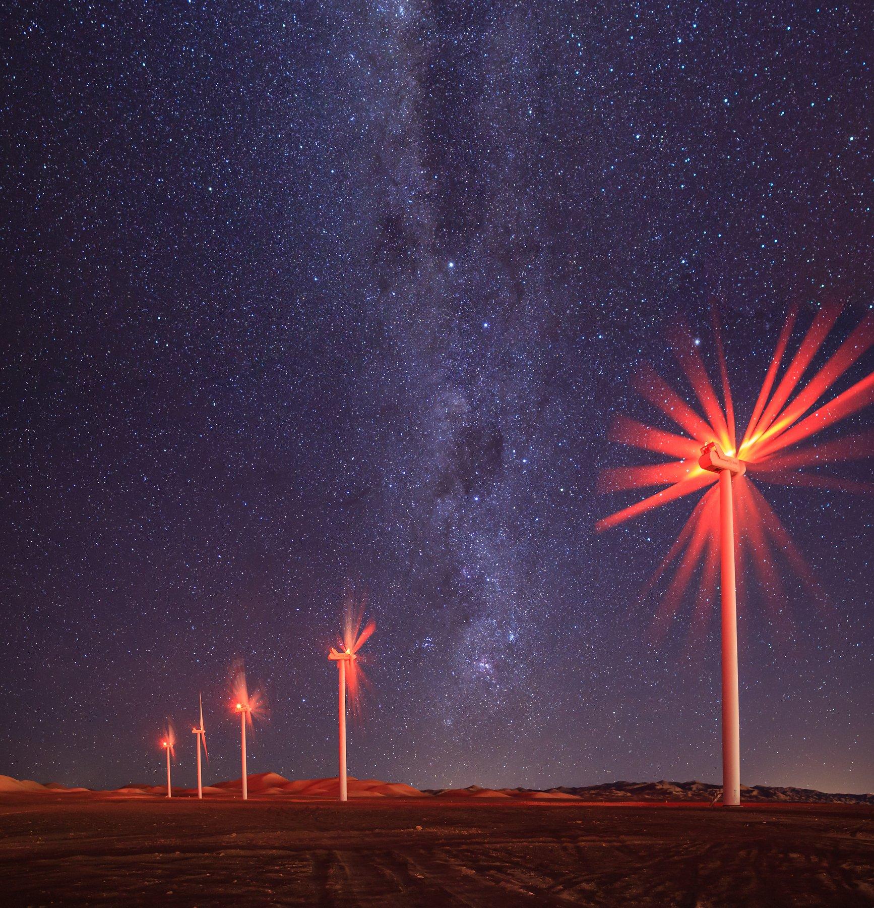 млечный путь, звездное небо, ветрогенераторы, пустыня атакама, чили, Vitalis Vasylius