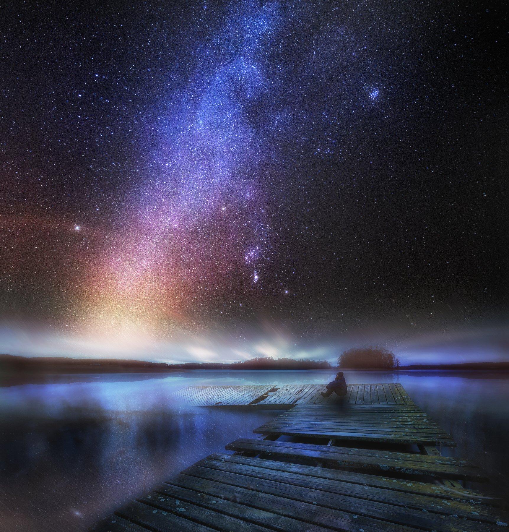 landscape, milky way, lake, poland, olsztyn, man, silhouette, jetty, destroyed, long exposure, starry, stars, orion,, Milosz_Guzowski
