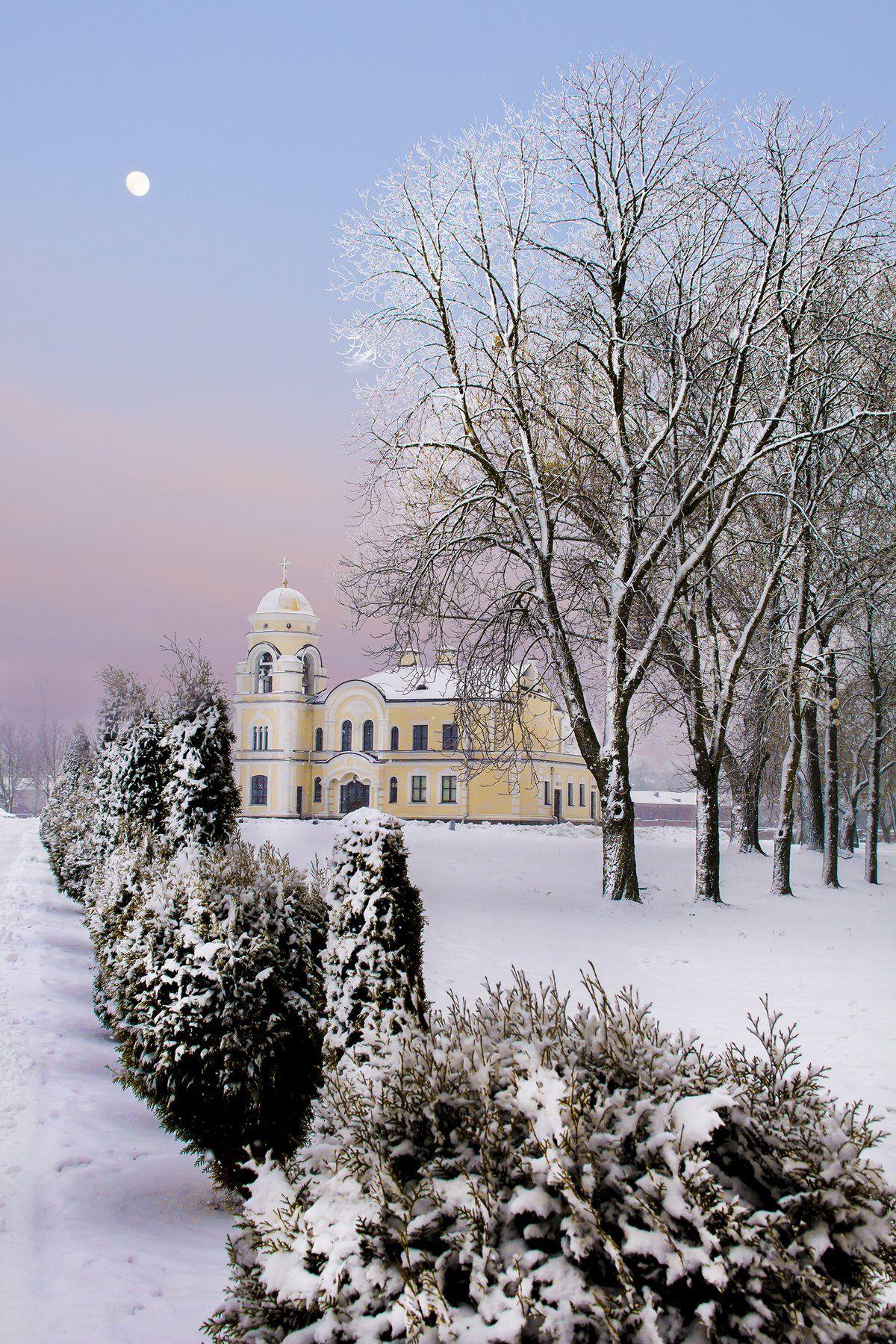 снег, зима, брест, крепость, мороз, церковь,утро,, Фото Брест