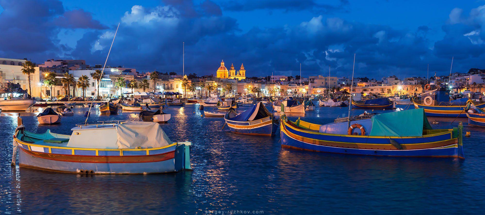 мальта, марсашлокк, лодки, средиземное море, луццу, европа, путушествия, Сергей Рыжков