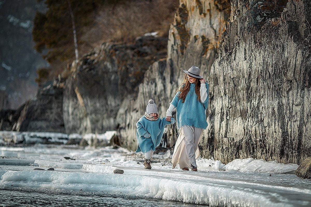 семья, дети, природа, горы, девушка, Татьяна