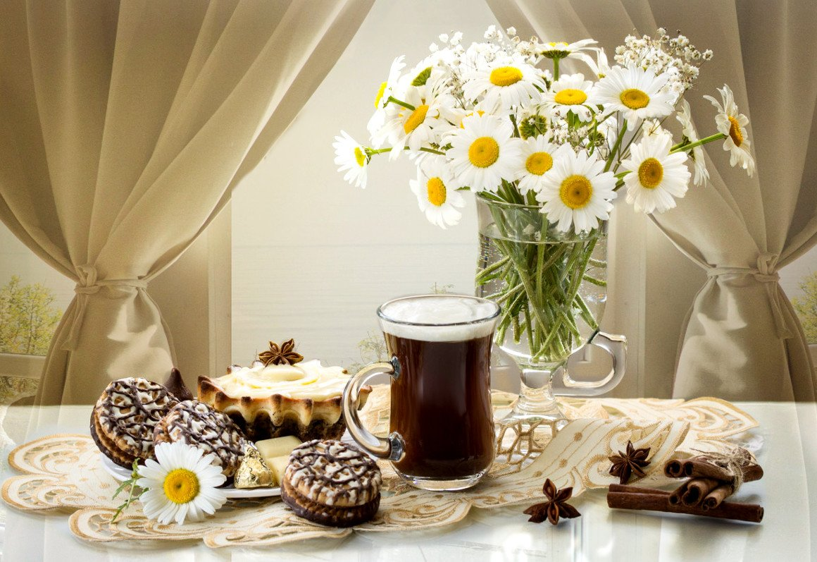 утро, натюрморт, кофе, печенье, букет, ромашки, Шруб (Беляева) Татьяна