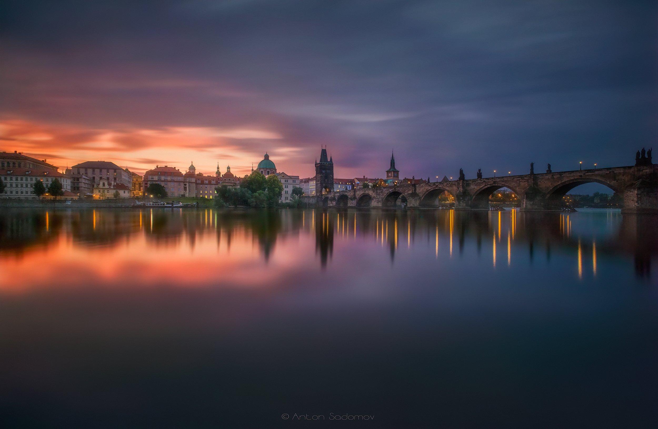 прага, мост, карлов, рассвет, выдержка, отражение, вода, река, город, praha, sunrise, Антон Садомов