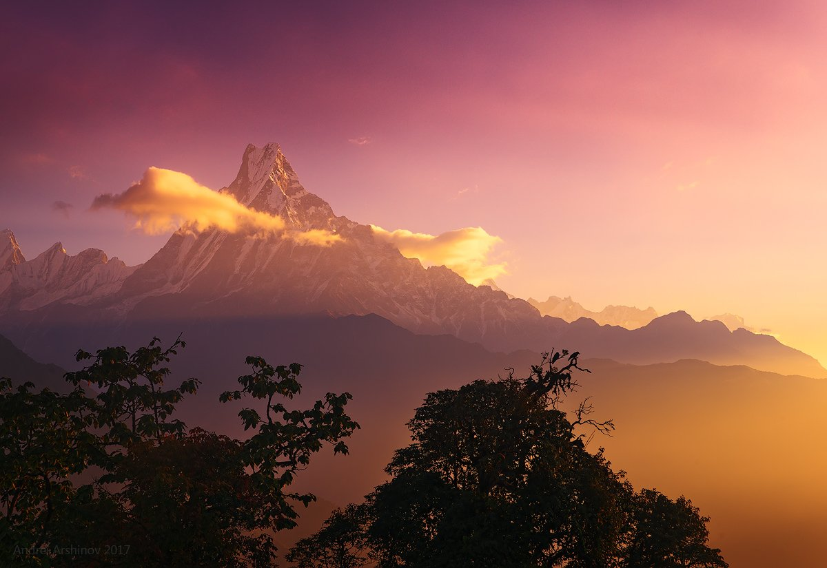 machapuchare, nepal, mountain, sunset, sunrise, landscape, nikon, geo, travel,, Soft Light
