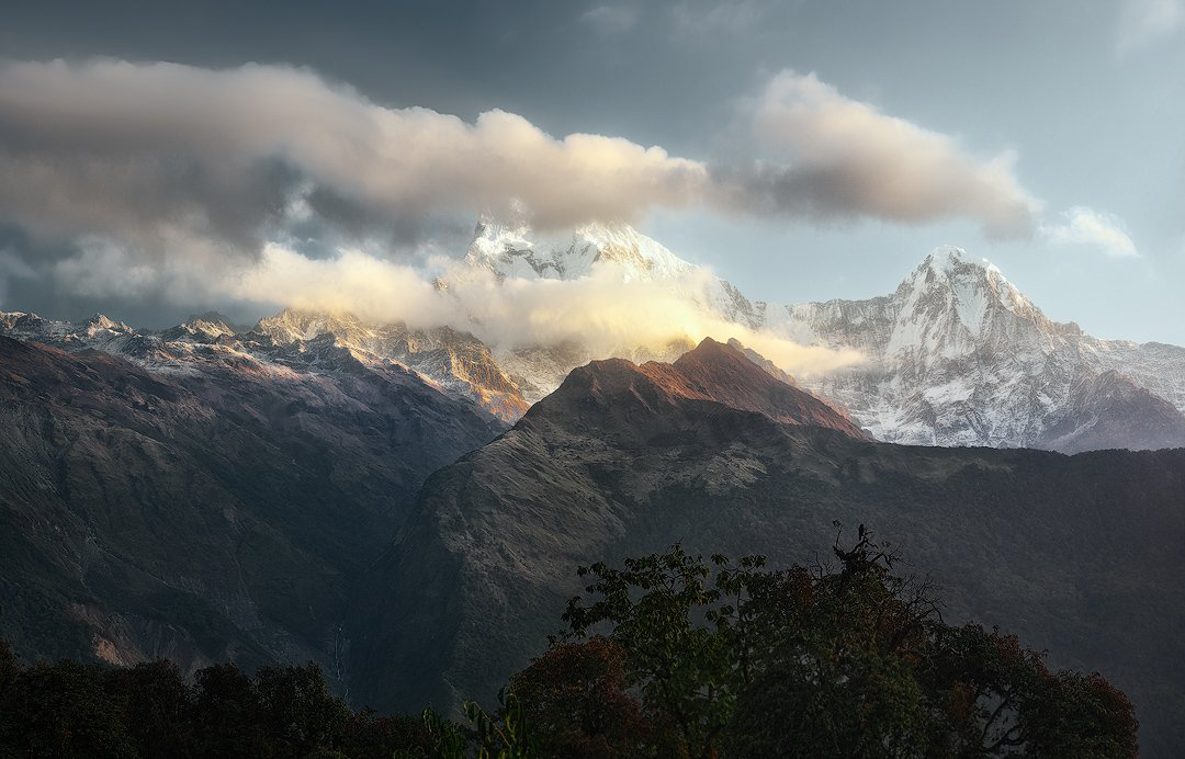 nepal, непал, горы, mountain; landscape; nature; sky; view; annapurna, dramatic, scenic; travel,, Soft Light