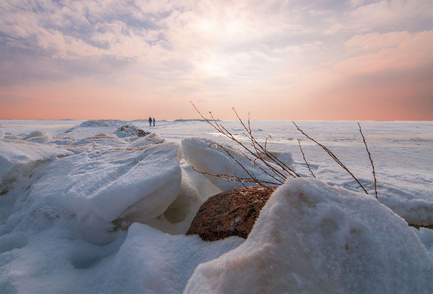 sunset,snow,frost,winter,people, Daiva Cirtautė