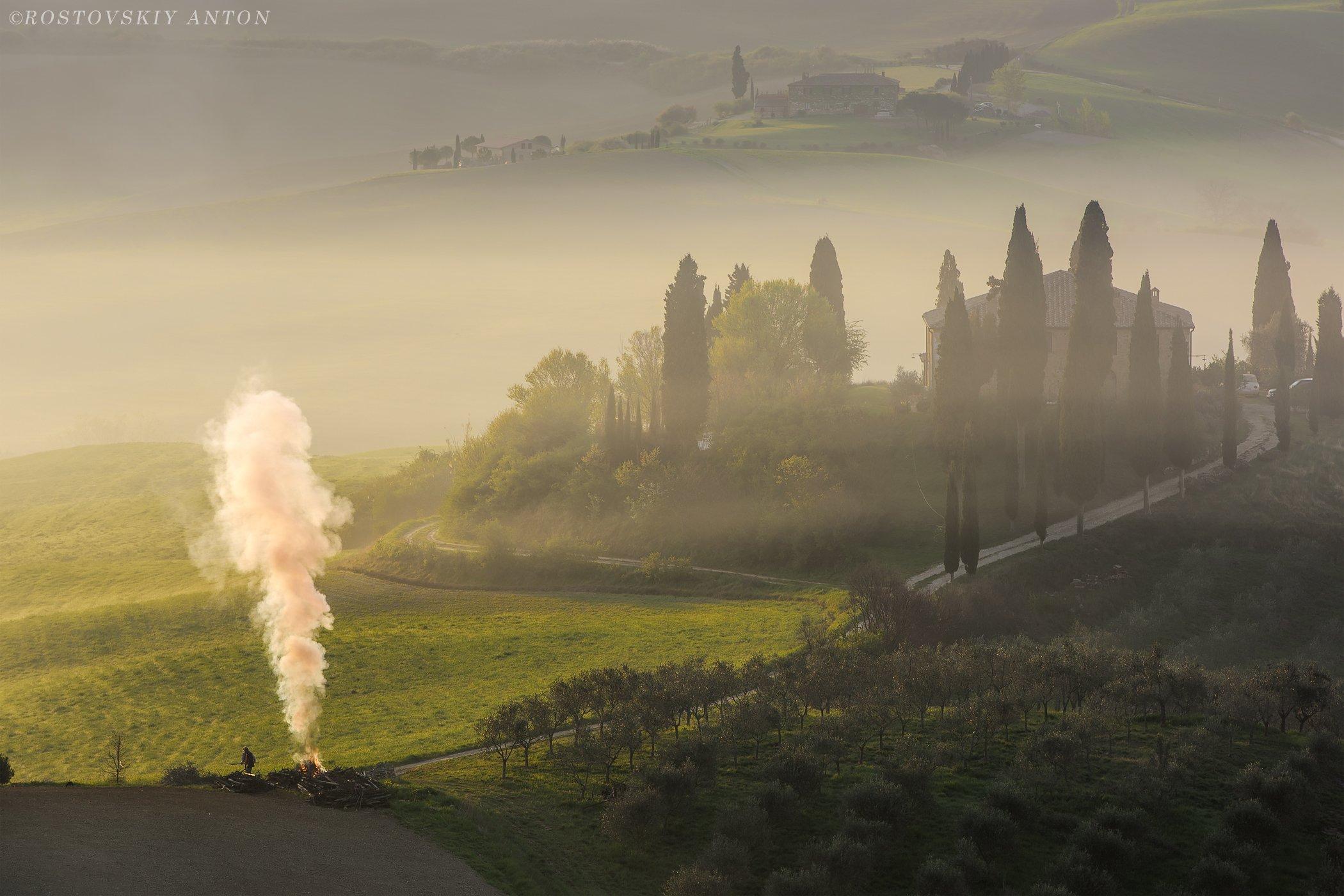 Тоскана, фототур в тоскану, Италия, фототур в Италия, Рассвет, Туман, утро, Tuscany landscape, Tuscany, Italy, Антон Ростовский