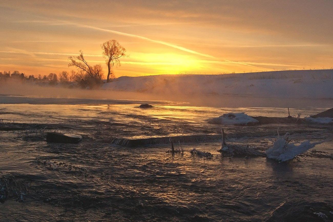 утро весна природа пейзаж якшино река упа, Михаил Агеев