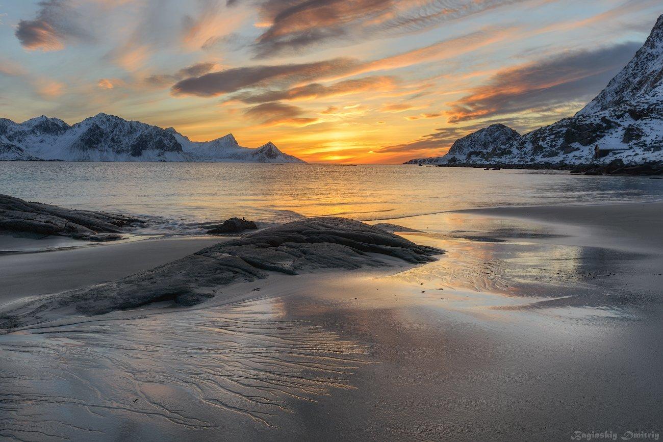 закат, пляж, норвегия, Dmitriy  Baginskiy