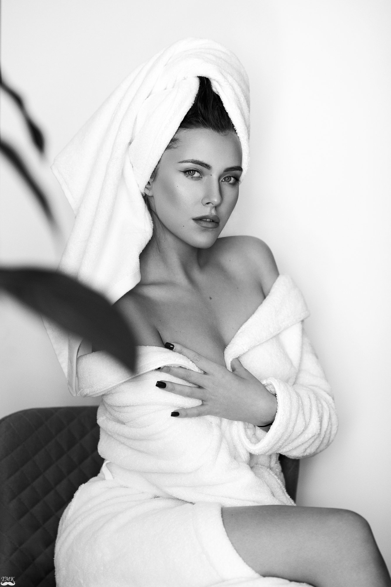 bw, black and white, portrait, fashion, monochrome, beauty, towel, woman, look, style , Tomash