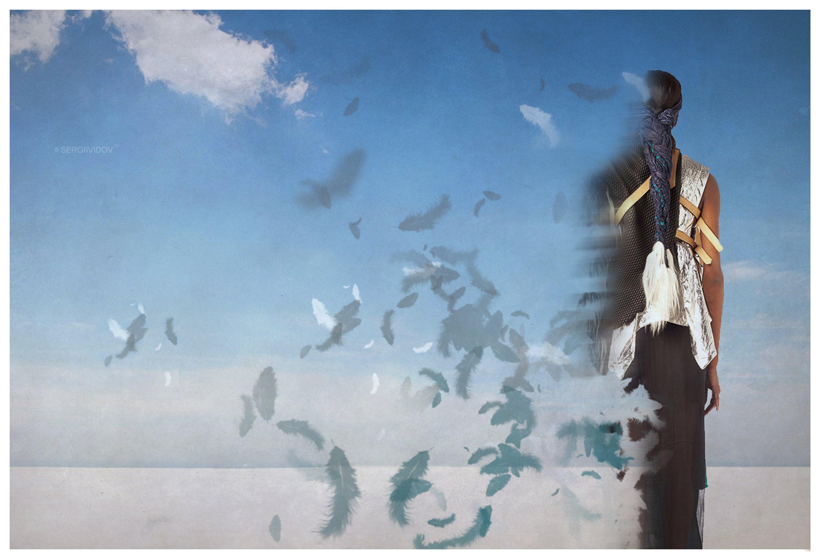 девушка, пустыня, перо, небо, Sergii Vidov
