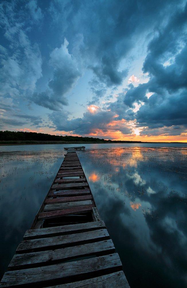 вечер, закат, вода, отражение, облака, Петриченко Валерий