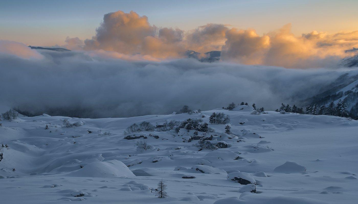 горы, кавказ, лаго-наки, закат, Фёдор