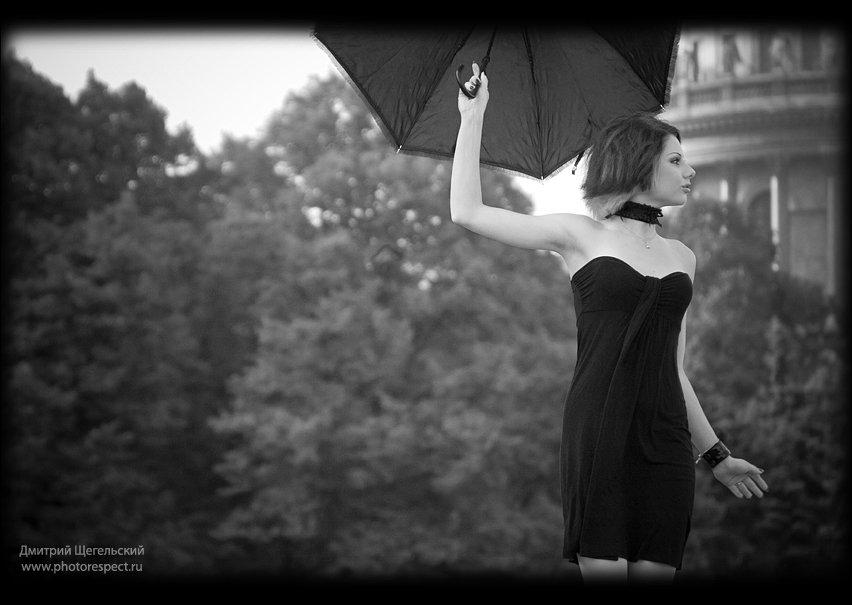 петербург, утро, девушка, зонт, мэри, поппинс, Дмитрий Щегельский