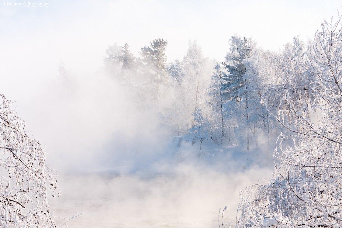 вуокса, карелия, река, февраль, мороз, зима, полынья, туман, иней, холод, Григорий Пожванов