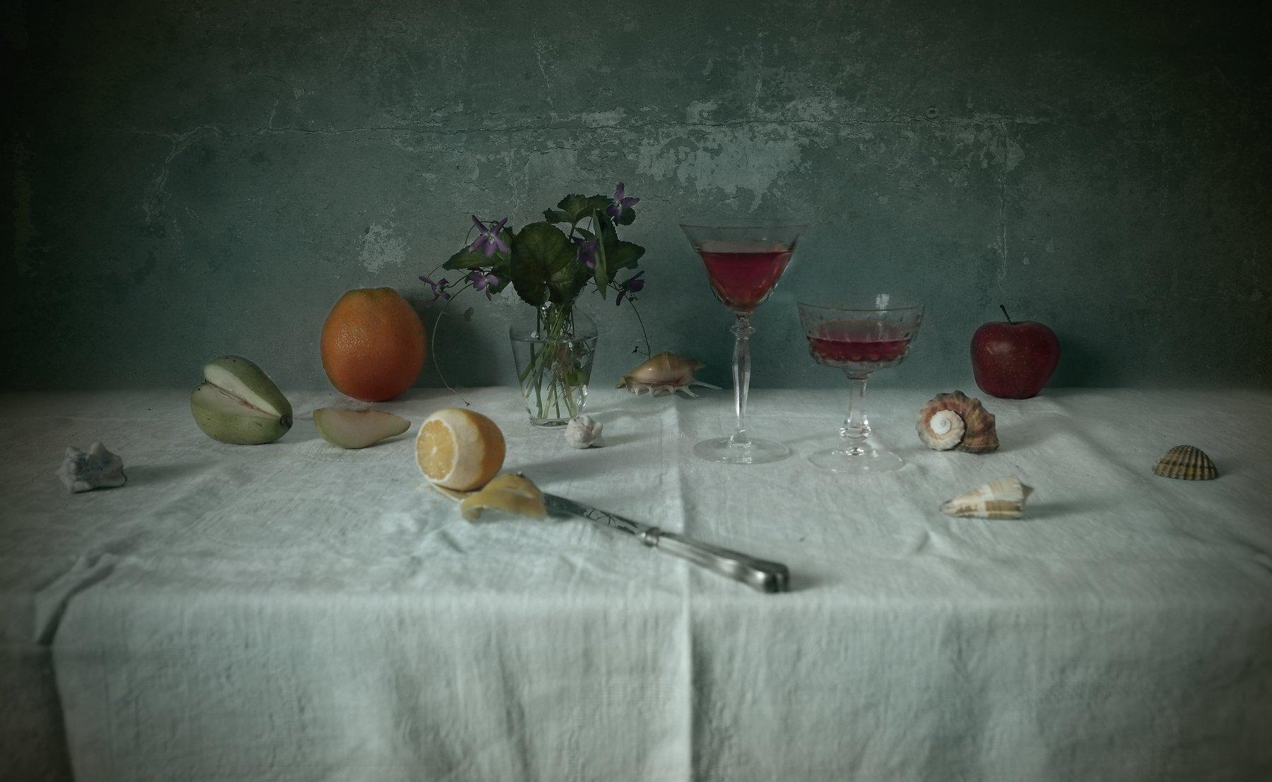 wine, fruits, shells, lemon, orange, apple, glass, texture, Andrei Blank