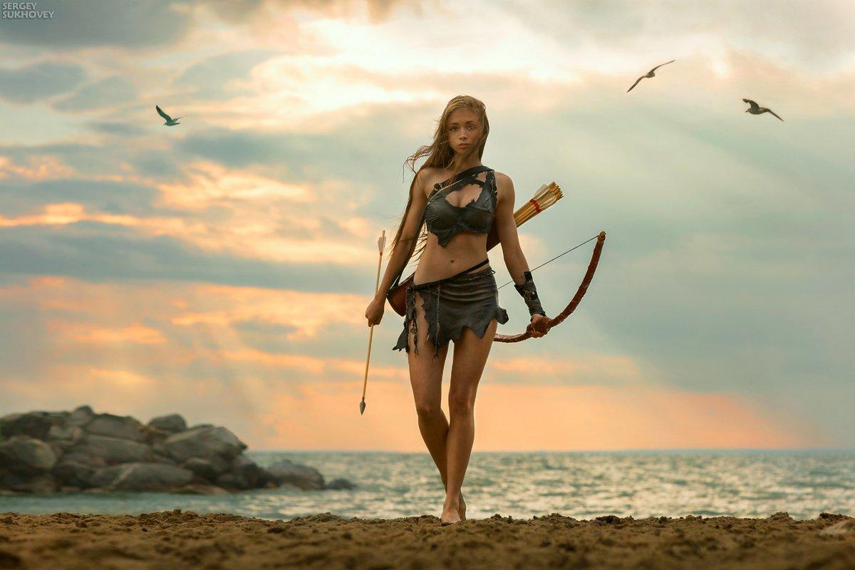 амазонка, воительница, воин, лук, лучница, девушка воин, море, бикини, стрелок, фентези, девушка с оружием, Сергей Суховей