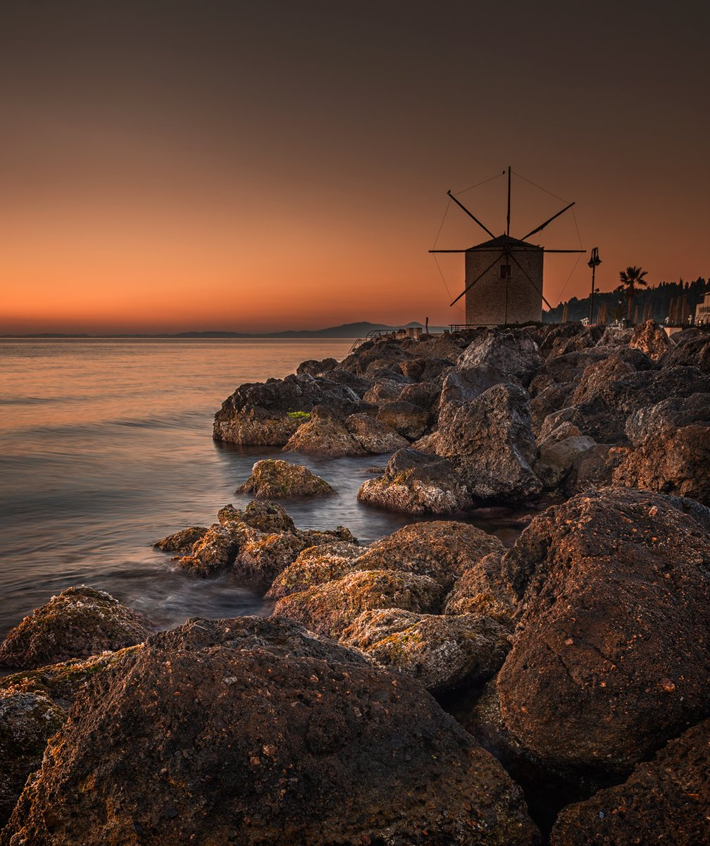 landscape, nature, seascape, sunrise, rocks, coastal, coast, beach, sea, seaside, long, exposure, scenery, windmill, corfu, Александър Александров