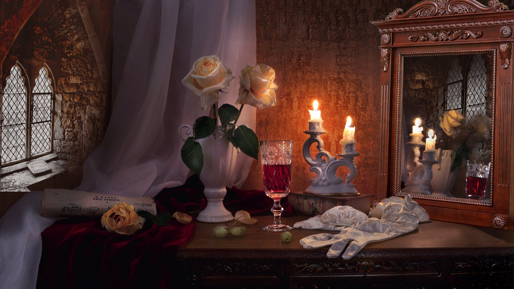 still life,натюрморт, зеркало, зима, ноты, отражение, подсвечник, розы, свечи, фарфор, февраль, фото натюрморт, хрусталь, цветы, Колова Валентина