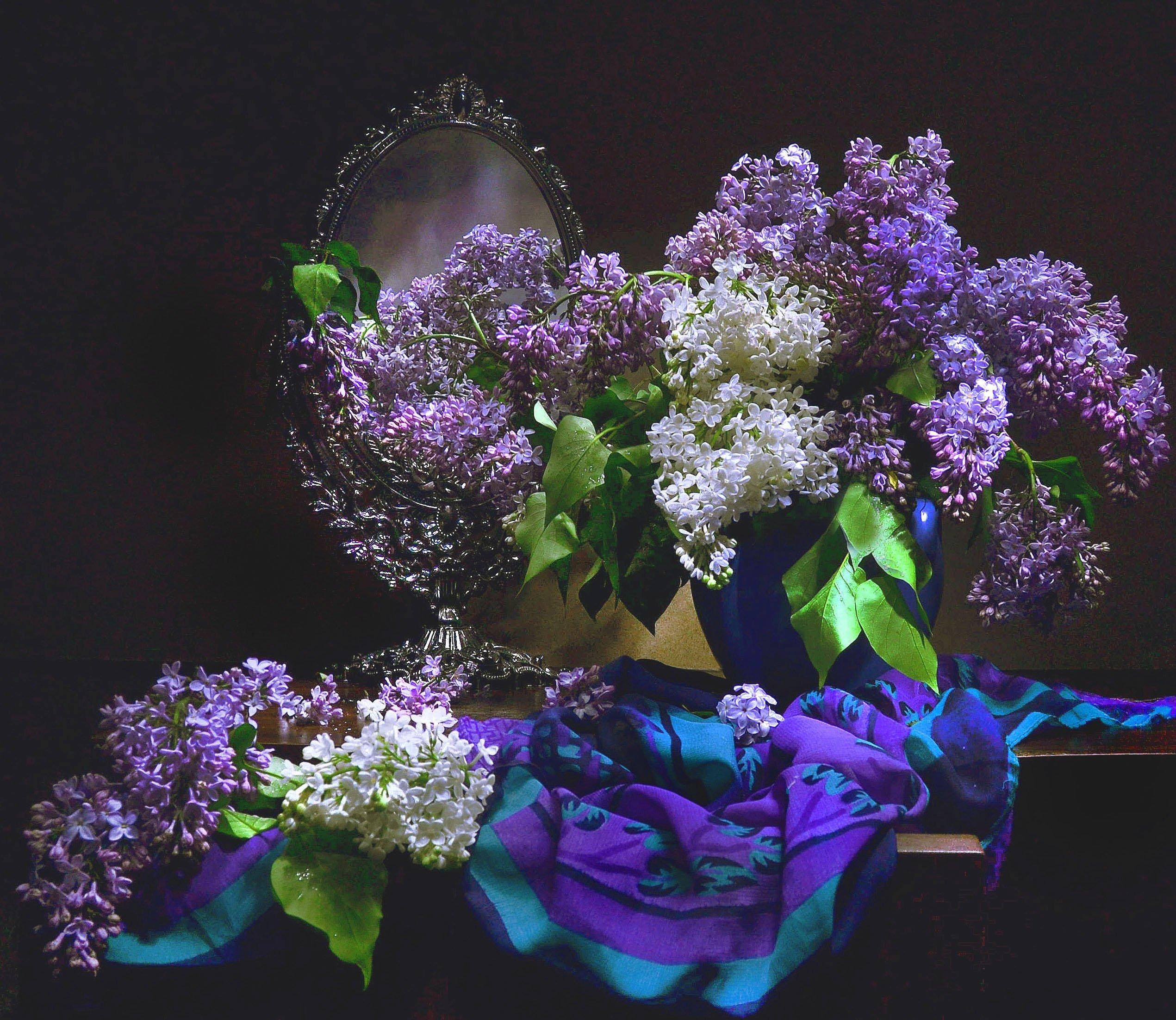 still life, натюрморт , весна, зеркало, отражение, сирень, стихи, фото натюрморт, Колова Валентина