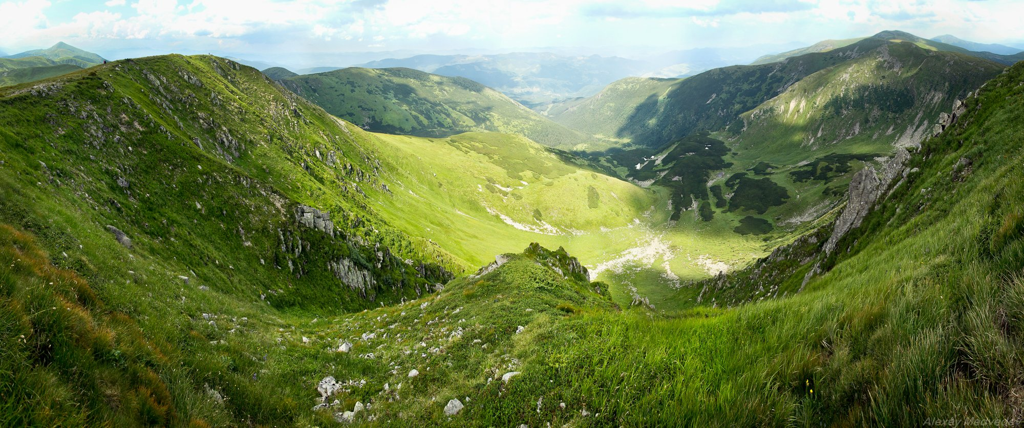 горы,  Карпати, полонина, скеля, сонце, Чорногора, Карпаты, панорама,, Алексей Медведев