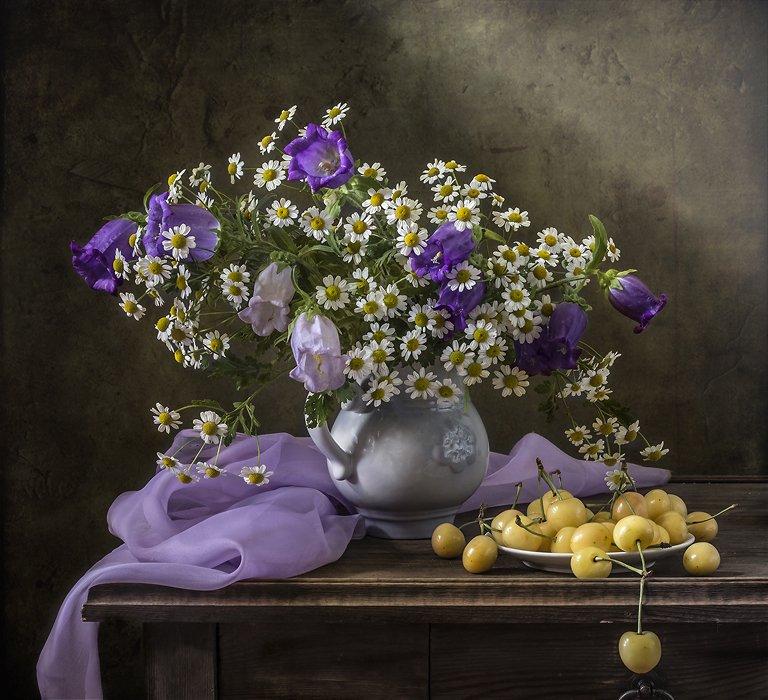 натюрморт, цветы, черешня, фрукты, still life, Оля