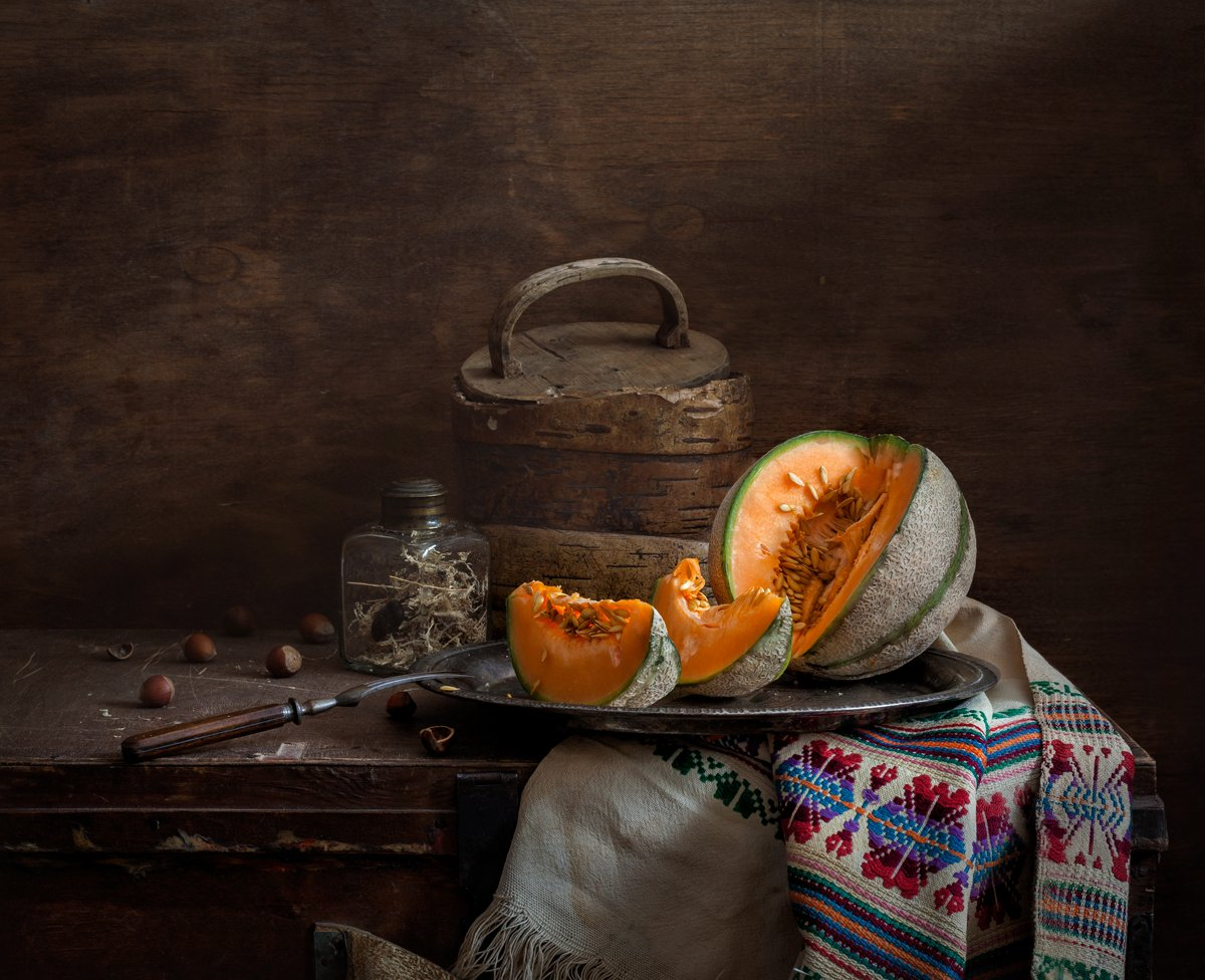 натюрморт, натюрморт с дыней, дыня, still life, stilleven, melon, still life with melon, evgeny kornienko, евгений корниенко, орехи, Евгений Корниенко
