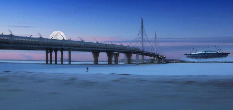 снег, стадион, летающая тарелка, нло, мост, зима, питер, абстракция, межгалактический корабль, луна, Alla Sokolova