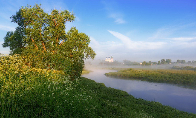 река, дерево, свет, лето, трава, храм, Евгений Цап