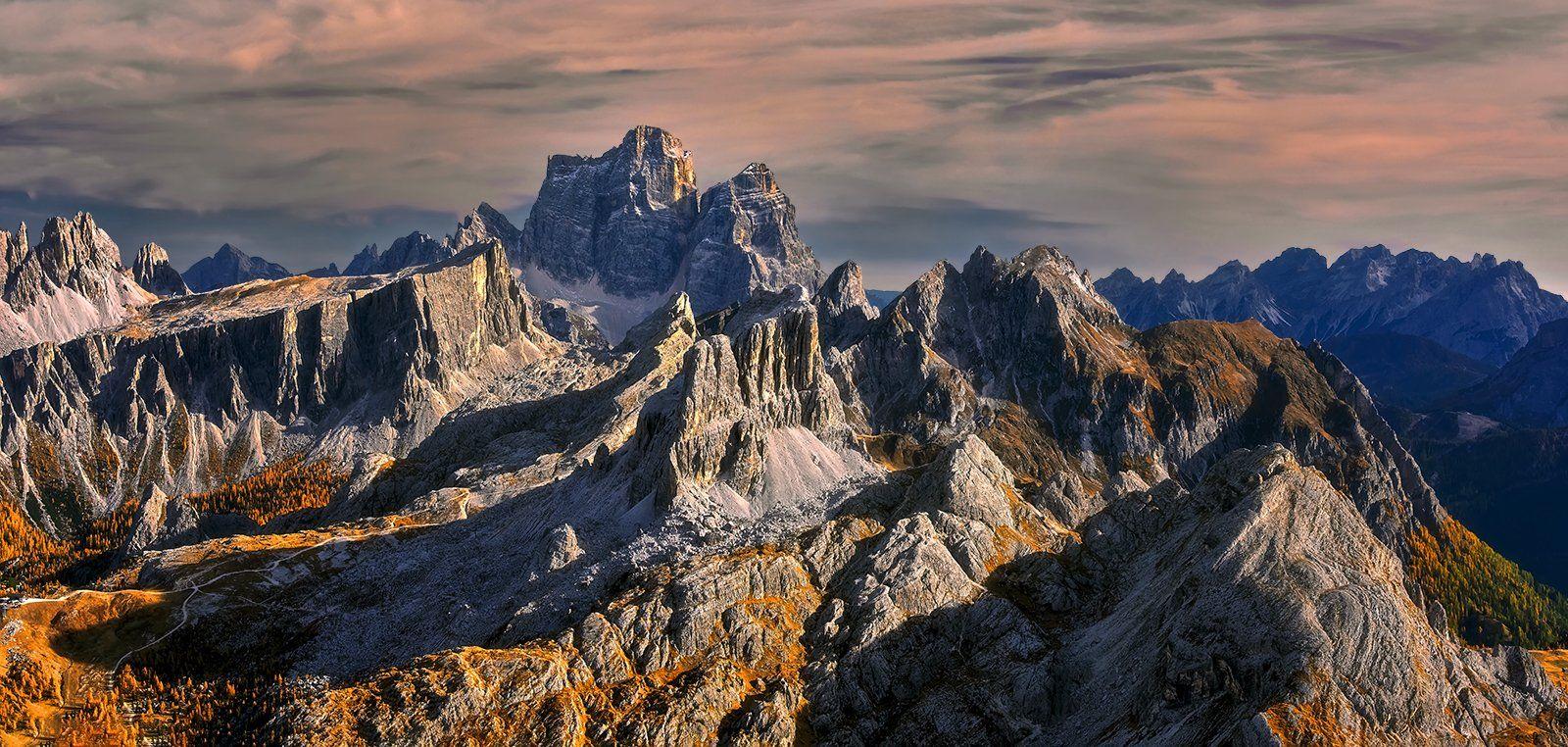 Passo Falzarego, Dolomites, Italy - view from the top of the Rifugio Lagazuoi. panorama, Jan Siemiński