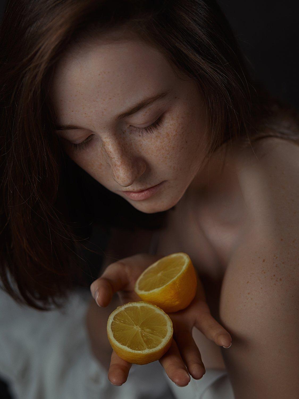 девушка, портрет, лимон, естественный свет, Иван Копченов