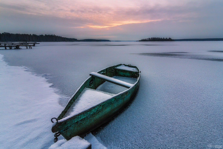лодка, озеро, утро,урал,флюс, Антон Кошетаров