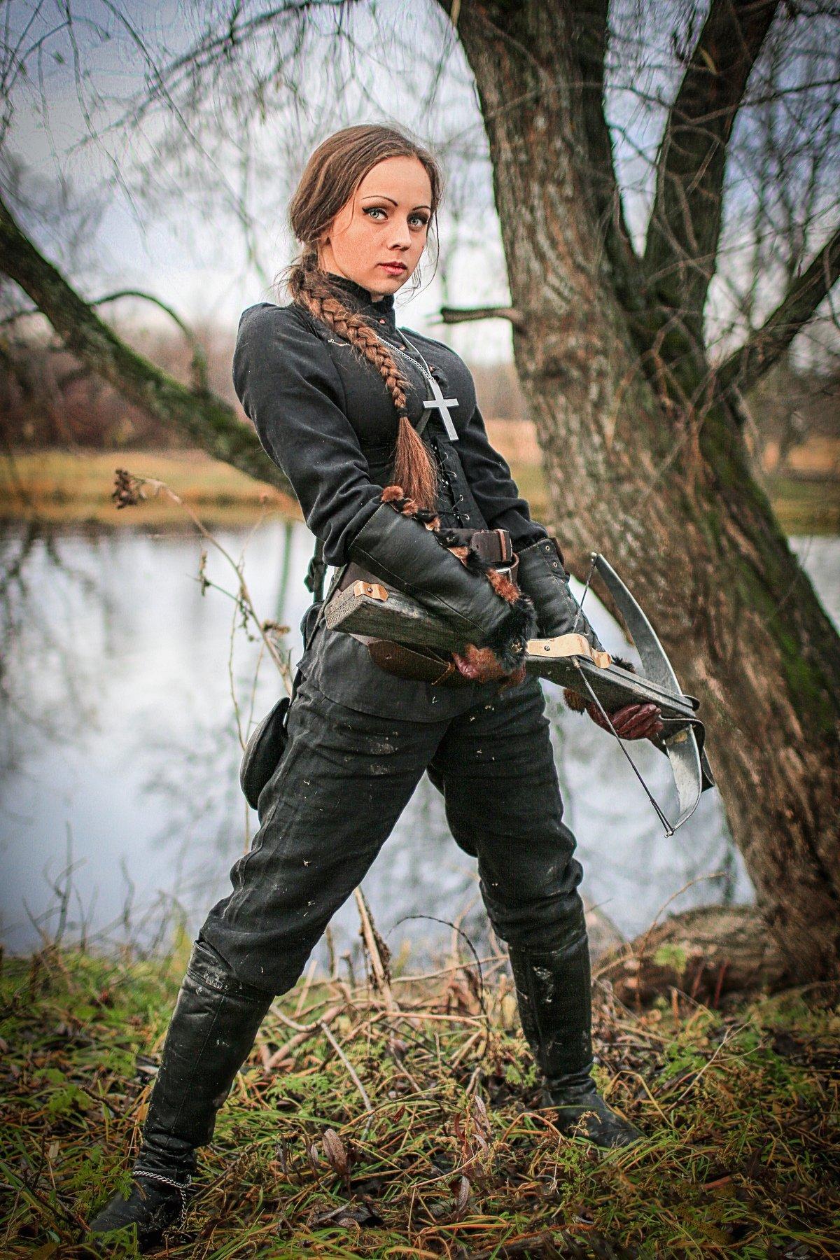 девушка, модель, портрет, охотница, арбалет, Сергей Рехов