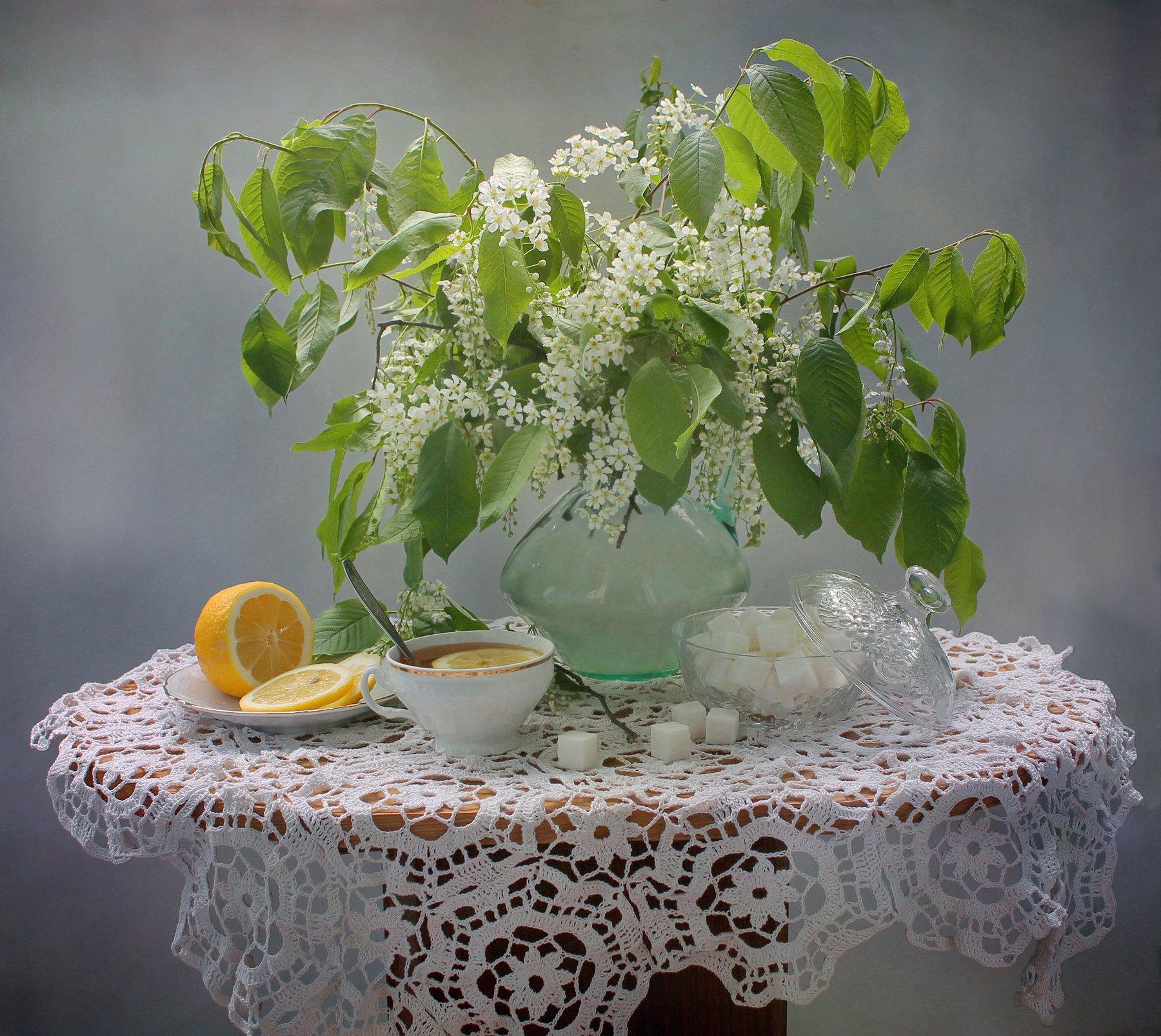 натюрморт, весна, черемуха, цветы, чай, фарфор, Ковалева Светлана
