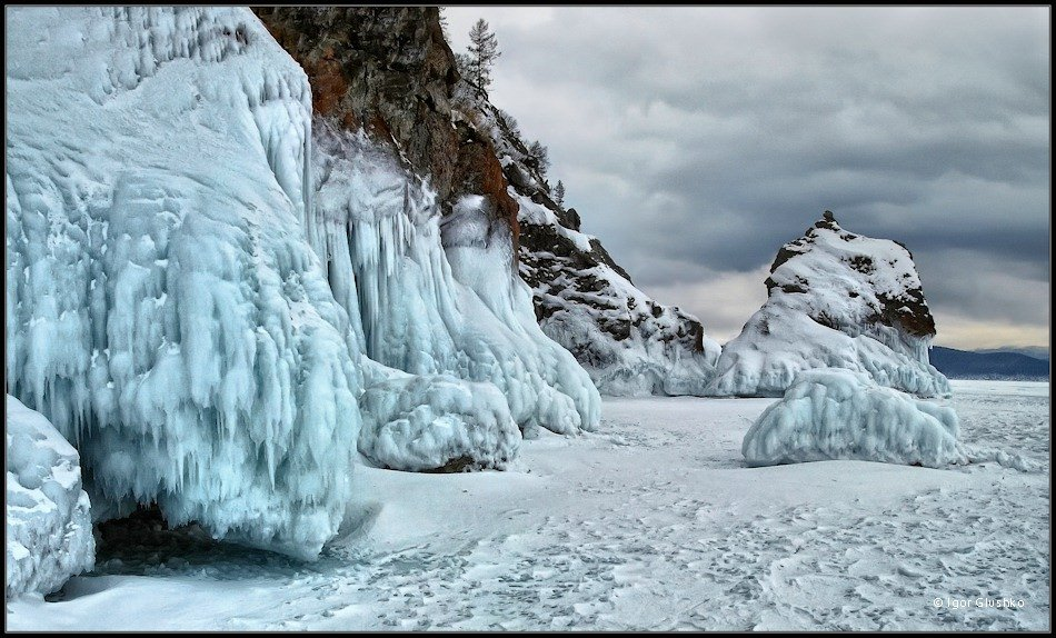байкал, лед, снег, скалы, берег, Igor Glushko (Vertun)